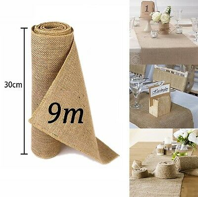 9M 30cm Hessian Table Runners Sew Edge Wedding Decoration Vintage Shabby Chic UK