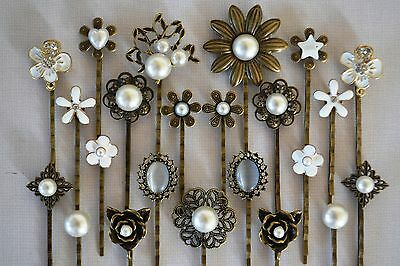 Pearl Hair Pin Grip Clips Slides Bobby Vintage Accessories Flower Rose Bronze
