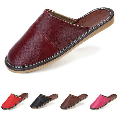 New Mens Womens Genuine Leather Slippers Shoes Mules, Hand Made 2016 Fashion AU