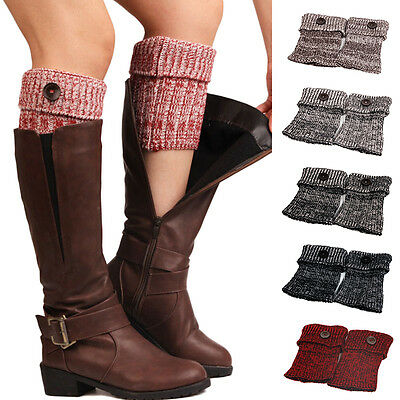Trendy Women Crochet Knitted Warm Button Boot Cuffs Toppers Leg Warmers Socks