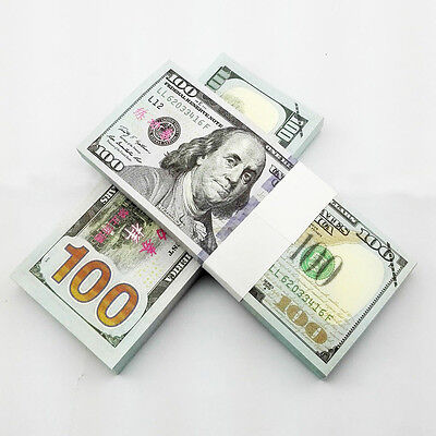 100pcs 1:1 SIZE New Versions USD $100 Play Money Fake Banknotes Paper Money UNC