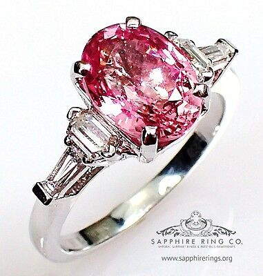 GIA Untreated Platinum 3.49 tcw Pink Oval Cut Natural Sapphire & Diamond Ring