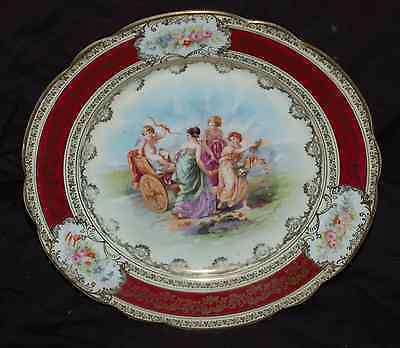 """Bee Hive Marked Roman Cherub Scene 9-1/2"""" Collector Plate    Burgandy and Gold"""