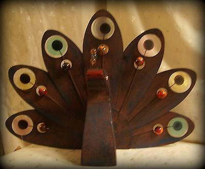 """New Brown Metal Peacock Head/Tail - 19""""x14""""x5"""" - Lg Multi-Color Beads & Discs"""