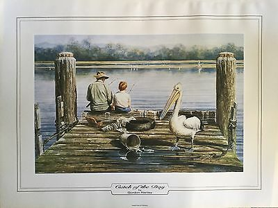 4x Gordon Hanley Artist Painting Print - Catch of the Day 47 X 62cm