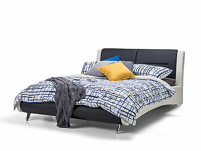Modern Retro Leather Upholstered Black & White Headboard Queen Size Bed Frame