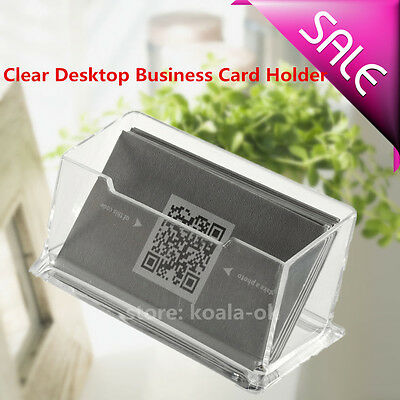 Clear Desktop Business Card Holder Display Stand Acrylic Plastic Desk Shelf NEW