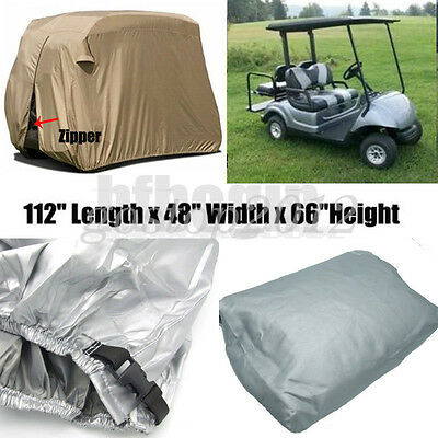 4 Passengers Golf Cart Cover Waterproof + Zipper For Yamaha EZ Go Club Car Cart
