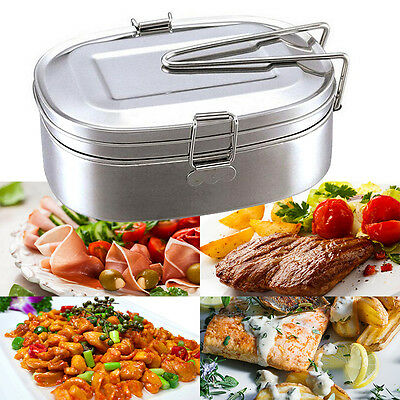 Portable Stainless Steel Square Food Container Bento Lunch Box 2 layer New