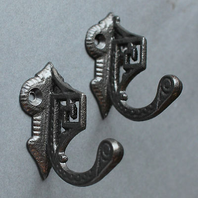 Pair Of Art Deco Cast Iron Curtain Tie Backs Hook Victorian Antique Vintage Old