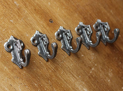 5 x ART DECO CAST IRON WALL COAT HOOKS VICTORIAN ANTIQUE VINTAGE ORNATE STYLE