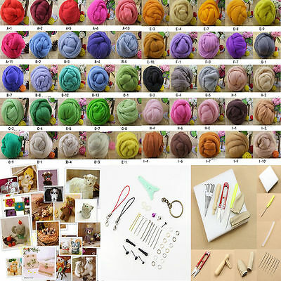 50 Colour Wool Fibre Needle Felting + Felting Needles Starter Kits Mat Tools
