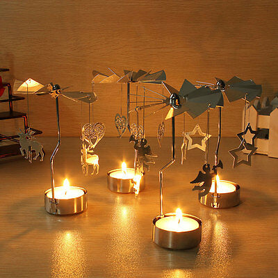 Xmas Rotary Spinning Carrousel GOLD DEER/ANGELS Tea Light Candle Holder Gift