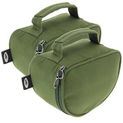 2 X Green Deluxe Fishing Reel Cases For Coarse Carp Fishing Reels Tackle NGT