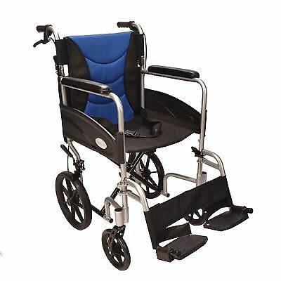Ultra Lightweight aluminium folding transit wheelchair ECTR07 handbrakes used