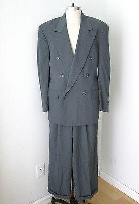 Vtg 80s Slate Gray New Wave 2-Pc Dbl Breasted Suit Pleated Taper Cuffed Pants 42