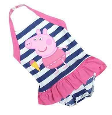 Ex M & S Baby Girls Peppa Pig Pink/Navy Swimsuit Swimming Costume Age 12 18 24