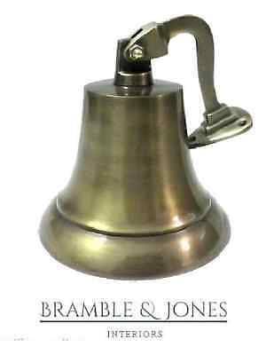 """10"""" Vintage Heavy Ship Pub Bell With Hanging Bracket For School Top Brass"""