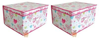 2 Love Hearts & Flowers Large Jumbo Pop Up Bedding Clothes Toy Storage Chest Box