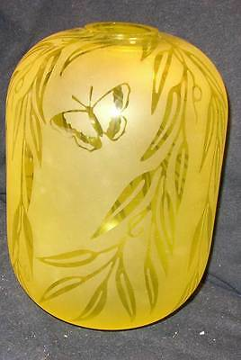 "Nice Kelsey Murphy Pilgrim 7 1/2"" yellow etched cameo glass vase--unique"