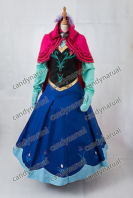 2016 Newest Disney Frozen Snow Queen ANNA Dress Adult Cosplay Costume With Cloak