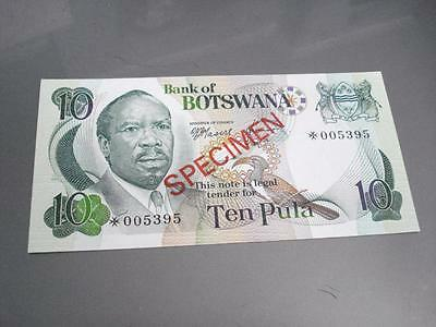 Botswana Specimen Note 10 Pula Uncirculated FREE Shipping!