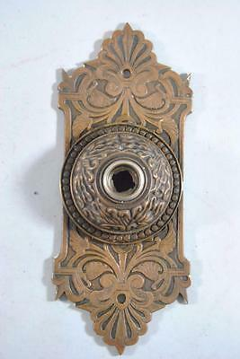 Antique Brass Victorian Push Door Bell Scroll Design