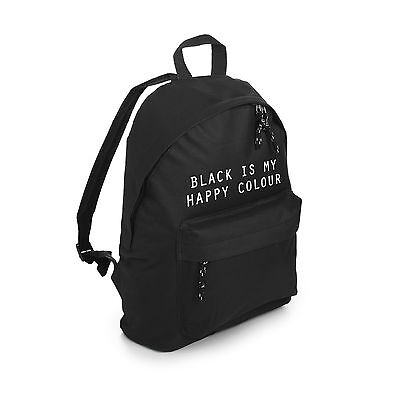 Black Is My Happy Colour Backpack School Bag Tumblr Grunge Hipster Fashion Goth
