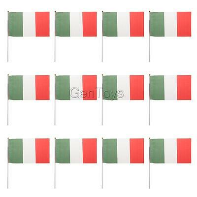 12pcs Hand Waving Italy National Pride Flags Banners Sports Cultural Events