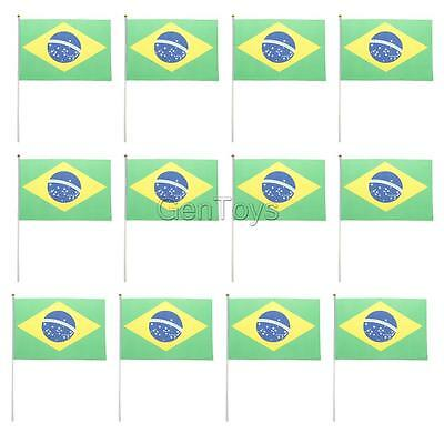 12x Sports Match Supporters Hand Waving Brazil National Pride Flags Banners