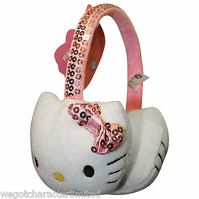 Official Licensed Girls Hello Kitty Glitter Bow Ear Muffs One Size Age 3+