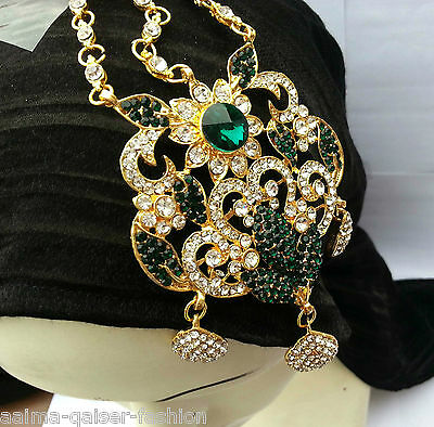 Indian Jhoomar Passa Costume Jewellery Green Clear Gold Plated New Aq/jh3