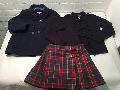 Lot Of 3 Girls Navy Blue Tartan Winter Outfit -  Skirt + Jacket - Age 8 - Vr