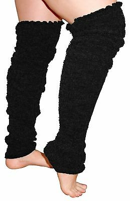 Plus Size Leg Warmers  Over the Knee Super Long Cable Knit Leg Warmer BLACK