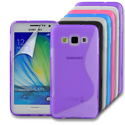 S-Line Wave Gel Back Case Skin Cover for Samsung Galaxy J3 (2016) + Screen Guard