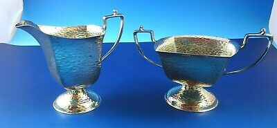 Sugar Bowl & Creamer Silverplated Hand Hammered by Homan & Company