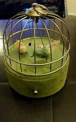 Vintage Swinging Birdcage Music Jewelry Box Bird Cage