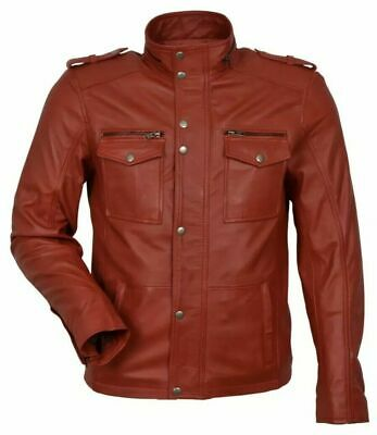 Men's Red Designer 5540 Real Sheep Nappa Soft Lambskin CLASSIC Leather Jacket