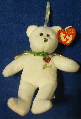 Ty Jingle Beanies Gift of Love White Ornament  2005 5-1/2""