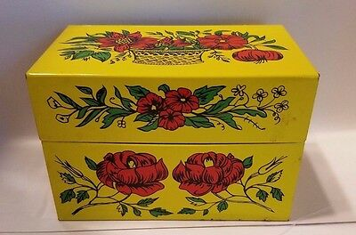 Vintage Tin Recipe Box with Recipes and Recipe Cards K