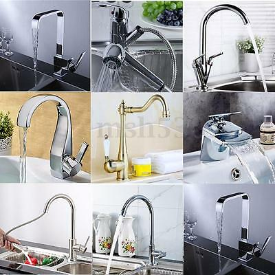 Modern Chrome Brass Kitchen Faucet Swivel Spout Single Handle Sink Mixer Tap