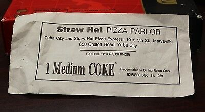 Coupon 1 Medium Coke Straw Hat Pizza Parlor 1989 Yuba City Or