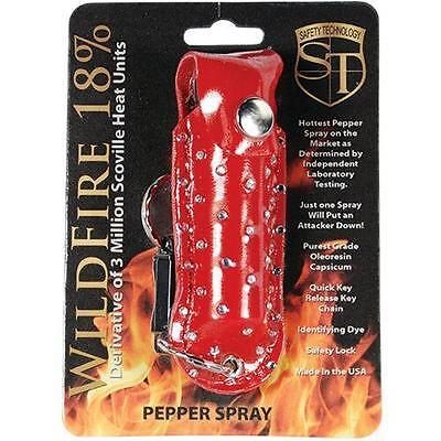 Wildfire Red Rhinestone Leatherette Pepper Spray Keychain 18% OC Hottest Made!