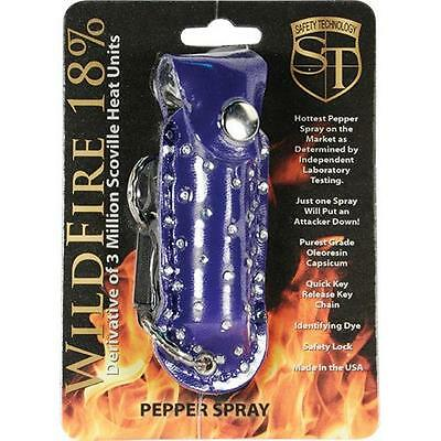 Wildfire Blue Rhinestone Leatherette Pepper Spray Keychain 18% OC Hottest Made!