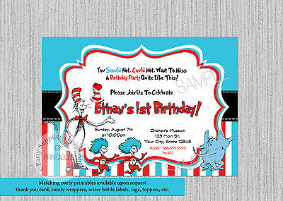 Dr. Seuss Birthday Invitations Print your own Cat in the Hat Digital Invitation