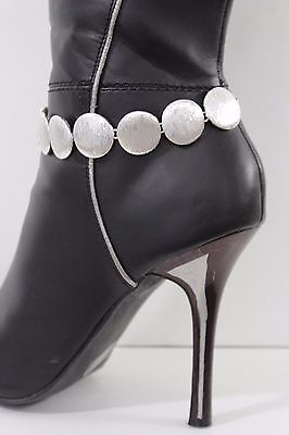 Women Silver Chain Boot Bracelet Anklet Heel Shoe Mini Round Circle Bling Charms