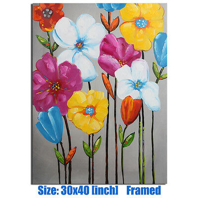 Modern Oil Painting Abstract Flower Canvas On Wall Art Decor Handpainted Framed