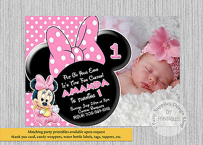 Printed Baby Minnie Mouse Birthday Invitations Pink Minnie Party