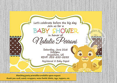 Printed Baby Simba Lion King Baby Shower Invitations Baby Shower