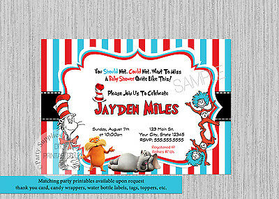 PRINTED Dr. Seuss Baby Shower Invitations, Cat in the Hat Shower Party Supplies